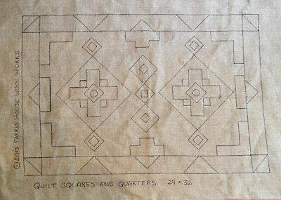 "24"" x 36"" Linen Hooked Rug Pattern - ""Quilting Squares & Quarters"""