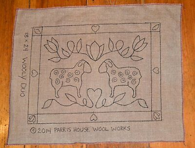 "18"" x 24""  Linen Hooked Rug Pattern - ""Woolly Duo"" *PATTERN ONLY*"