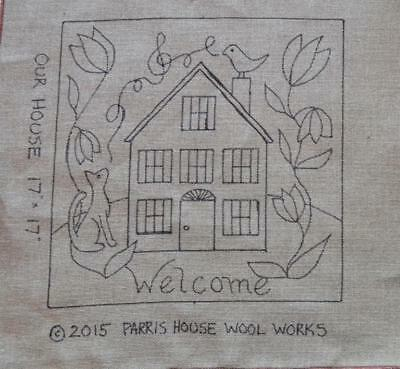 "17"" x 17"" Linen Hooked Rug Pattern - ""Our House"""