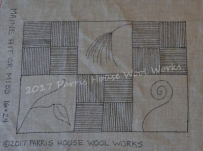 """16"""" x 24"""" Linen Hooked Rug Pattern - """"Maine Hit or Miss"""" *PATTERN ONLY*"""