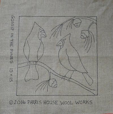 "15"" x 15"" Linen Hooked Rug Pattern - ""Gossip in the Pines"" - Throw Pillow, Wall"