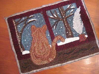"16"" x 22"" Linen Hooked Rug Pattern - ""Tesla's First Snow"" *PATTERN ONLY*"