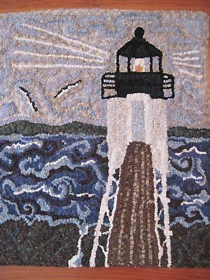 "22"" x 25"" Linen Hooked Rug Pattern - ""Storm at Marshall Point Light, Maine"""