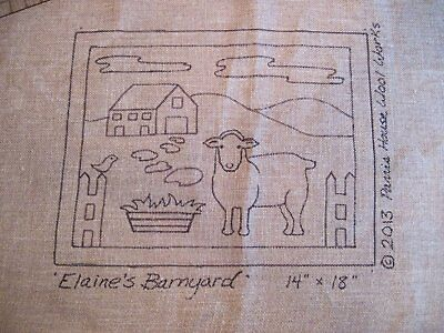 "14"" x 18"" Linen Hooked Rug Pattern - ""Elaine's Barnyard"" *PATTERN ONLY*"