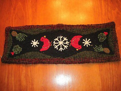 "10.5"" x 30"" Linen Hooked Rug Pattern -""Let Us Sing Winter"" - table runner or wal"
