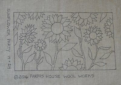 "14"" x 24"" Linen Hooked Rug Pattern - ""Sunflower Party"""