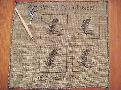 "4"" x 4"" Linen Hooked Rug Pattern - ""Rangeley Lupines"" - Set of 4 Coasters"