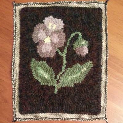 "6"" x 8"" Linen Hooked Rug Pattern - ""Portland Pansy"" *PATTERN ONLY*"