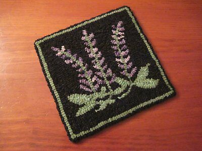 "8"" x 8"" Linen Hooked Rug Pattern - ""Rangeley Lupines"" - Trivet *PATTERN ONLY*"
