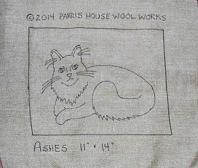 "11"" x 14"" Linen Hooked Rug Pattern - ""Ashes"" *PATTERN ONLY*"