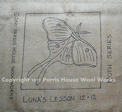 "12"" x 12"" Linen Hooked Rug Pattern - ""Luna's Lesson"" - Moth"