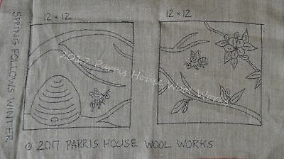 "12"" x 12"" Linen Hooked Rug Pattern - ""Spring Follows Winter""  (2 panels included"