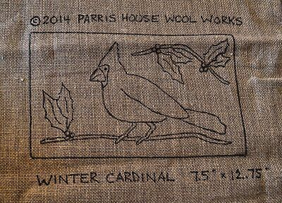 "7.5"" x 12.75"" Linen Hooked Rug Pattern - ""Winter Cardinal"" *PATTERN ONLY*"