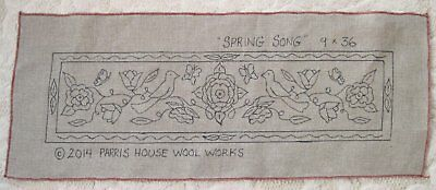 "9"" x 36"" Linen Hooked Rug Pattern - ""Spring Song"""