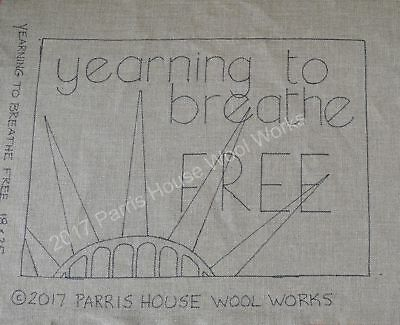 "18"" x 25"" Linen Hooked Rug Pattern - ""Yearning to Breathe Free"""