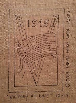 """12"""" x 18"""" Linen Hooked Rug Pattern - """"Victory at Last"""" - 1940s Wartime"""