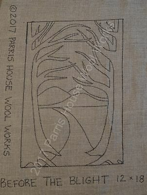 """12"""" x 18"""" Linen Hooked Rug Pattern - """"Before the Blight"""""""