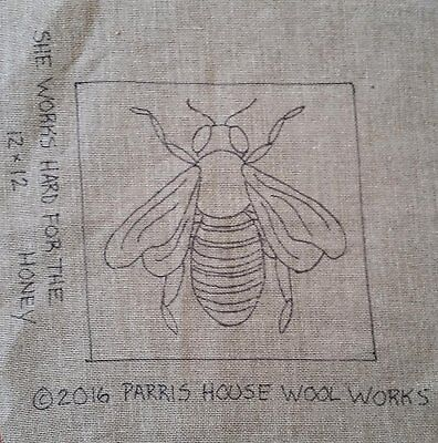 """12"""" x 12"""" Linen Hooked Rug Pattern - """"She Works Hard for the Honey"""" PATTERN ONLY"""