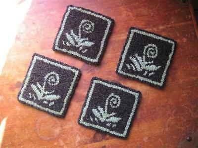 """4"""" x 4"""" Linen Hooked Rug Pattern - """"Norway Fiddleheads"""" - Set of 4 Coasters"""