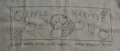 "9"" x 27"" Linen Hooked Rug Pattern - ""Apple Harvest"" *PATTERN ONLY*"