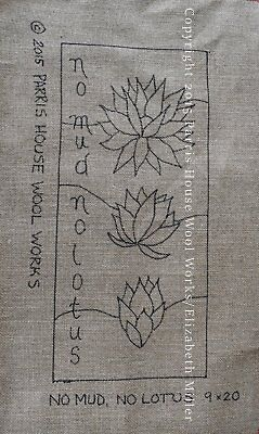 """9"""" x 20"""" Linen Hooked Rug Pattern - """"No Mud, No Lotus"""" *PATTERN ONLY*"""