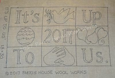"18"" x 30"" Linen Hooked Rug Pattern - ""It's Up to Us"""