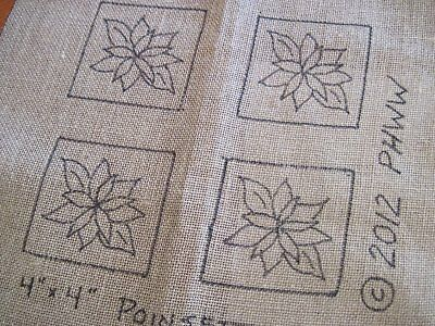 "4"" x 4"" Linen Hooked Rug Pattern - ""Poinsettias"" - Coasters (4) *PATTERN ONLY*"