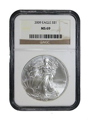 2009 American Silver Eagle $1 NGC MS-69 Certified Graded Brilliant Uncirculated