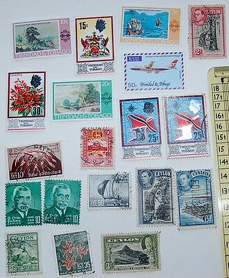 Lot of 19 Stamps Ceylon, Trinidad, Tobago Post marked, See Photos Lot 14