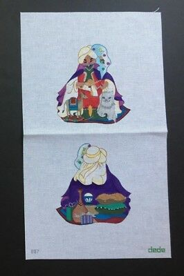 Dede Hand-painted Needlepoint Canvas 2-Sided Arabian Nights Santa