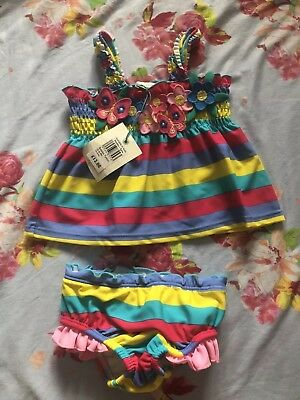 John Lewis Baby Girls Bubbles Tankini/costume Set BNWT. Age 6-9 Months Floral 🌸