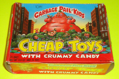 1986 Topps Garbage Pail Kids Cheap Toys Toy & Crummy Candy Display Box - 12 Bags