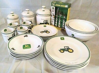 John Deere Tableware Set Cannisters Nesting Bowls Plates Silverware Dishes
