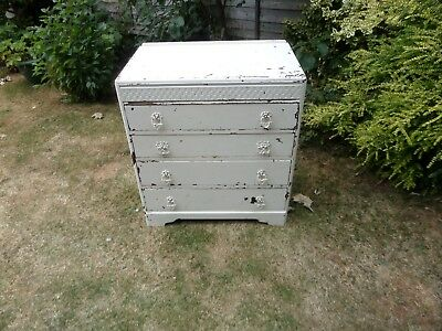 1940's Vintage, Shabby Chic Oak Chest Of 4 X  Drawers, In Antique White Now £35.