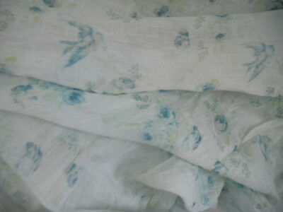 """VINTAGE COTTON BATISTE FABRIC blue birds & roses 1 yd by 32""""  wide  child doll"""