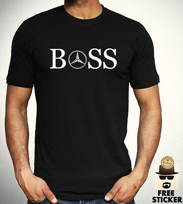 4339db49a8f Mercedes Benz Boss T shirt Car Racing AMG Tee New Black Mens Gift Top S -