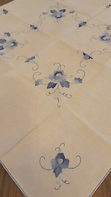 """Vintage Applique Embroidered Table Linen Tablecloth  Square 31.5 x 31.5 """""""