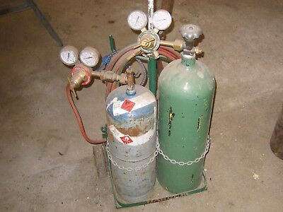 Oxygen Acetylene Outfit Cutting Torch Set With Tanks And Cart      4 Tanks Total