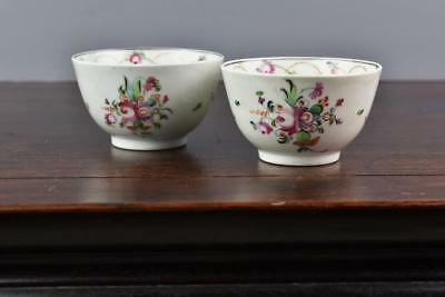 English Soft Paste Tea Bowls In The Famille Rose Pattern C.1800