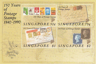 "Singapore, 1990, ""150Th Of Postage Stamps"" S/s, Mint Nh Fresh Good Condition"