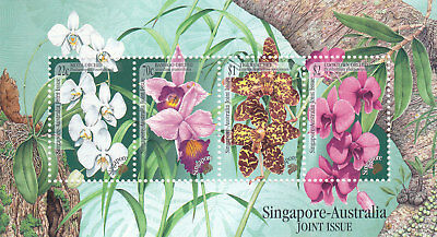 "Singapore, 1991, ""orchids - Joined Australia"" S/s Mint Nh Fresh Good Condition"