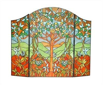 """Fireplace Screen Tree Of Hope Tiffany Style Stained Glass 44"""" L x 35"""" H"""