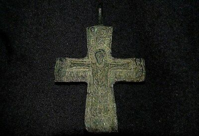 Byzantine Bronze Cross Depicting the Risen Christ! Absoltuely Stunning and Rare!