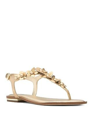 d8a8ca9bf651 MICHAEL Michael Kors Women s Tricia Leather Thong Sandals Size 8.5 Pale Gold