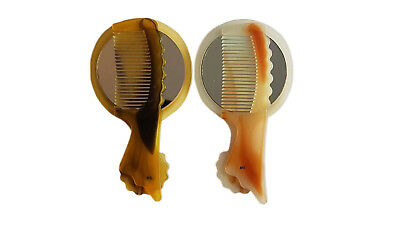 Pack Of 2pcs Hair Styling Comb Set Professional Brown & Orange with mirror
