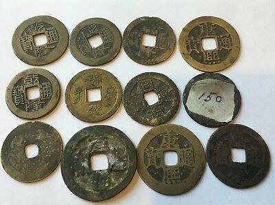 Lot of 14 Mixed China Ancient Bronze Cash Coins