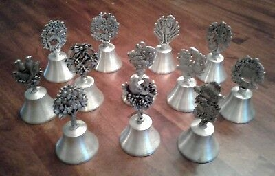 """""""12 days of Christmas"""" collection of 12 woodbury pewter Bells, USA"""