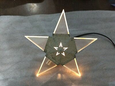 """Vintage NOMA Star Tree Topper lucite Plastic & Metal Lighted Neon Effect 9"""""""