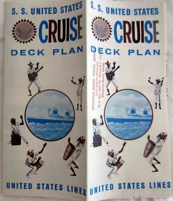 SS UNITED STATES CRUISE DECK PLAN MID 1960s