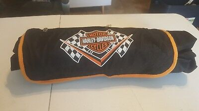 Harley Davidson Roll-Up Tarp Picnic Blanket With Grommets Racing
